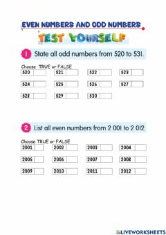 Interactive worksheet Even numbers and odd numbers