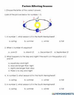 Interactive worksheet Seasons Factors QUIZ