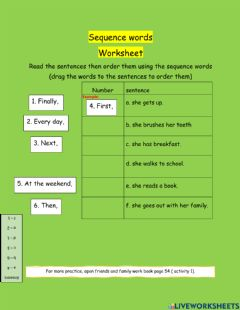 Interactive worksheet Sequence words 2