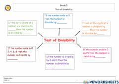 Interactive worksheet Test of Divisibilty