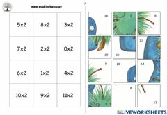 Interactive worksheet Puzzle tabuada do 2