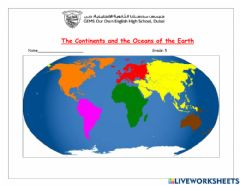 Interactive worksheet Continents and Oceans