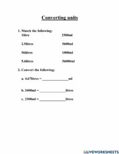 Interactive worksheet Converting units - Grade6