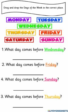 Interactive worksheet Days of the week before