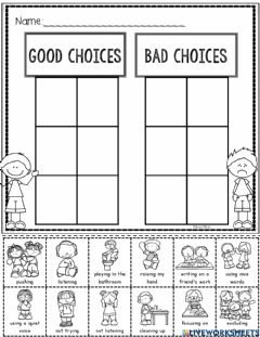 Interactive worksheet Good or Bad Choices