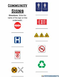 Interactive worksheet Community Signs