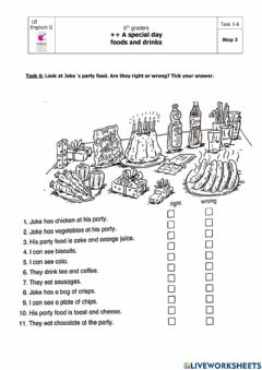 Interactive worksheet A special day: food and drink-Step 2 Task4