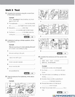 Interactive worksheet Project 3 Unit 3 test