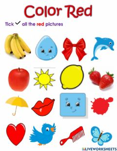 Interactive worksheet Color red