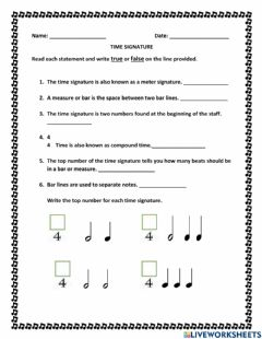 Interactive worksheet Time signature