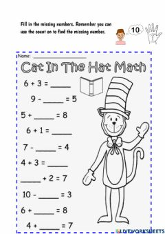 Interactive worksheet Cat In The Hat Math: Missing Numbers