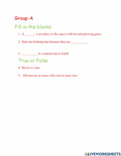 Interactive worksheet The moon and stars