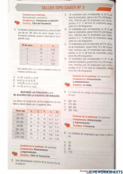 Interactive worksheet Medidas de tendencia central. Prueba SABER