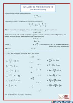 Interactive worksheet Equações