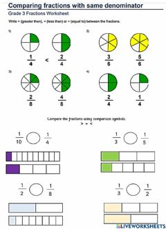 Interactive worksheet Compare Fractions