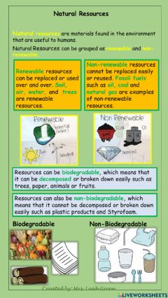 Interactive worksheet Natural Resources