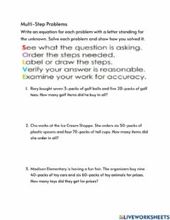 Interactive worksheet Multi-Step Problems