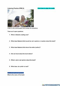Interactive worksheet Listening about a book - Identifying Speakers opinion