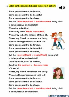 Interactive worksheet 6º unit 4 song at the theatre