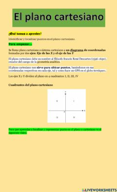 Interactive worksheet El plano cartesiano