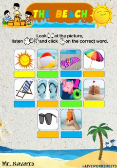 Interactive worksheet The Beach(Look, listen and click)