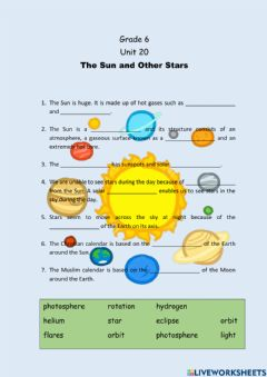 Interactive worksheet The Sun and Other Stars