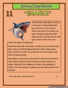 Interactive worksheet Sharks