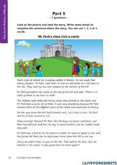 Ficha interactiva A2 reading and writing - from part 5 to part 7