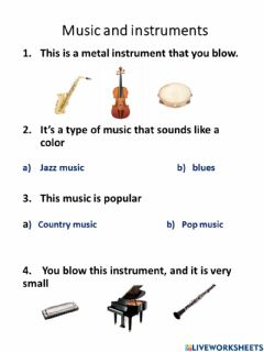Interactive worksheet Instruments  part 1