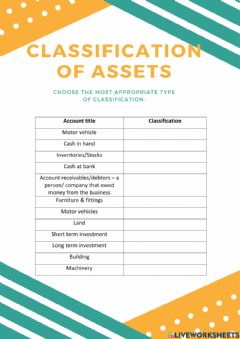 Ficha interactiva Chapter 3 - Accounting Classification (Asset)