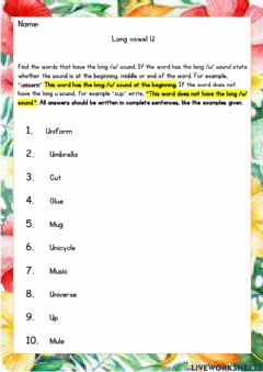 Interactive worksheet Long Vowel U
