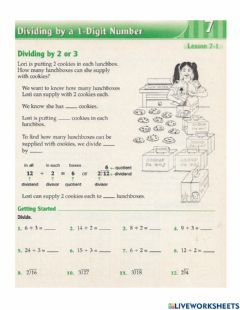 Ficha interactiva Dividing 2 or 3 digits by 1 digit