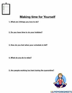Ficha interactiva Making time for yourself