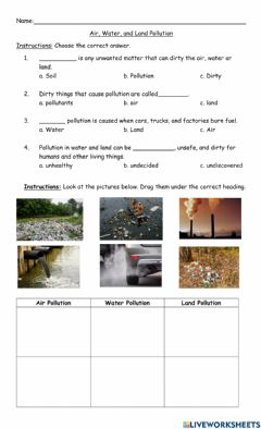 Ficha interactiva Air, Water, And Land Pollution