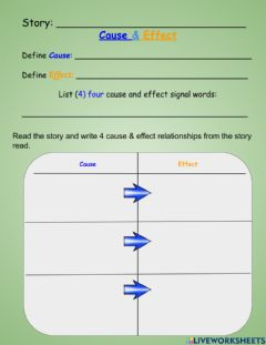 Interactive worksheet Cause & Effect T chart