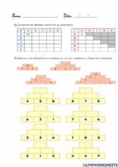 Interactive worksheet Muros núméricos