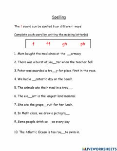 Interactive worksheet Different F (gh and ph) sounds