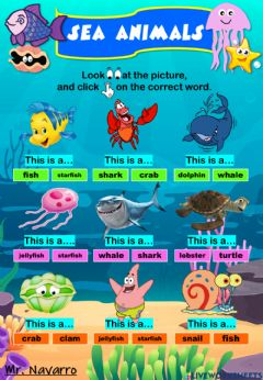 Interactive worksheet Sea Animals (Look at the picture and click on the correct word)