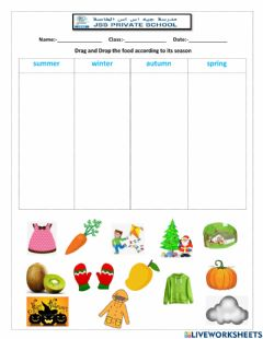 Interactive worksheet Seasons recap