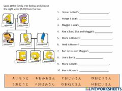 Interactive worksheet Family member words The Simpsons