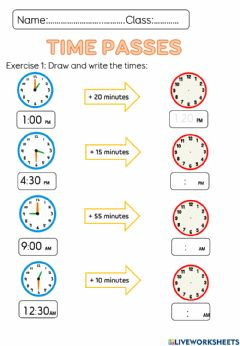 Interactive worksheet Mathematics Time Passes