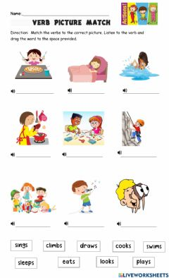 Interactive worksheet Action words