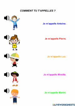 Interactive worksheet Je m'appelle