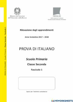 Interactive worksheet Prova di lettura e comprensione INVALSI 2017 2018