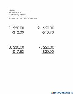 Interactive worksheet Making change from -20.00