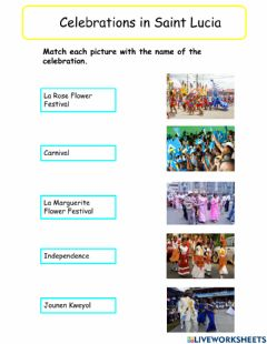 Interactive worksheet Celebrations in Sint Lucia