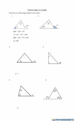 Interactive worksheet Exterior angles of triangles