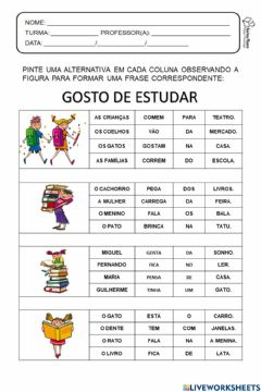 Interactive worksheet Pinte as partes e forme frases