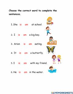 Ficha interactiva Simple Present Tense- Am, is or are