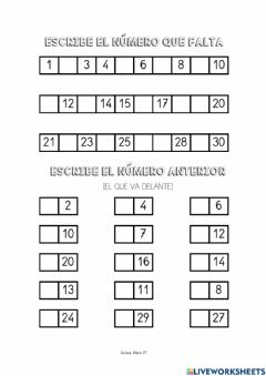 Interactive worksheet Los números del 0-30